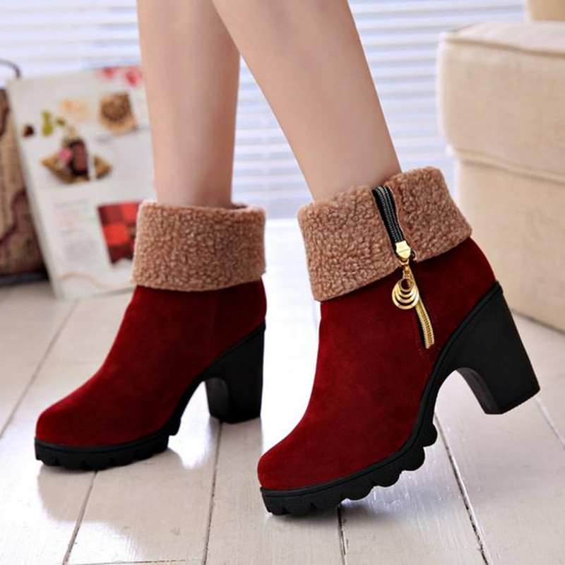Winter Women Shoes Thick with high heels Frosted leather waterproof platform women boots Women s cotton shoes obuv<br><br>Aliexpress