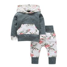 2017 Autumn Kids Baby Carters Boys Girls Clothing Set 2 PCS Set Pullover Cotton Arrow Printed T-shirts + Pants Infant Clothing(China)