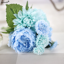 Keythemelife 1 Bouquet Artificial Flowers Peony Dahlias Silk Flower Fall Vivid Fake Leaf Wedding Home Party Decoration 0B