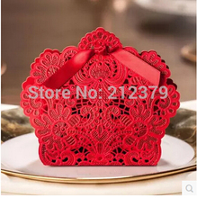 100pcs new hollow lace Chinese candy box wedding ideas small gift boxes only sml red wedding candy bag