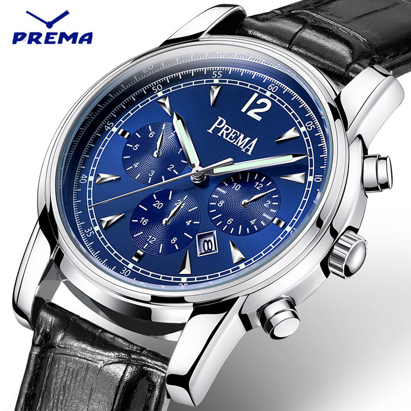 Top Brand Luxury Quartz Watch Mens Blue Dial Hour Date Clock Leather Strap Fashion Casual Watch Men Military Army Wrist Watches<br>
