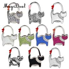MagiDeal Table Cat Foldable Purse Bag Rhinestone Hanger Hangbag Hook Holder Safer Girls Gifts(China)