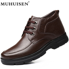 MUHUISEN Brand 겨울 Genuine Leather Men Boots 봉 제 편안한 캐주얼 남성 츠 Shoes 눈 Boots Big Size 38-48(China)