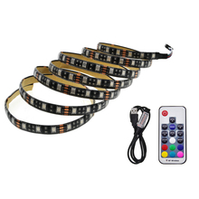 5050 USB LED Strip lights 5V TV lights RGB Black PCB IP20 / IP65 Decorative Cabinet iights lamps With 17Key RF Controller(China)