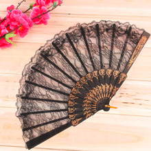 Worldwide 1pcs Vintage Fancy Dress Costume Chinese Costume Party Wedding Dancing Folding Lace Hand Fan Black Free Shipping