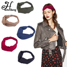 Haimeikang Novelty Chiffon Cotton Headwear Hair Bands for Women Casual Wide Plaid Headband Turban Bandana Hair Accessories(China)