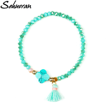 Sehuoran Charm Bracelet Natural Stone Of leave With Cotton Tasse Crystal Armbanden Voor Vrouwen Hot Sales 2017(China)