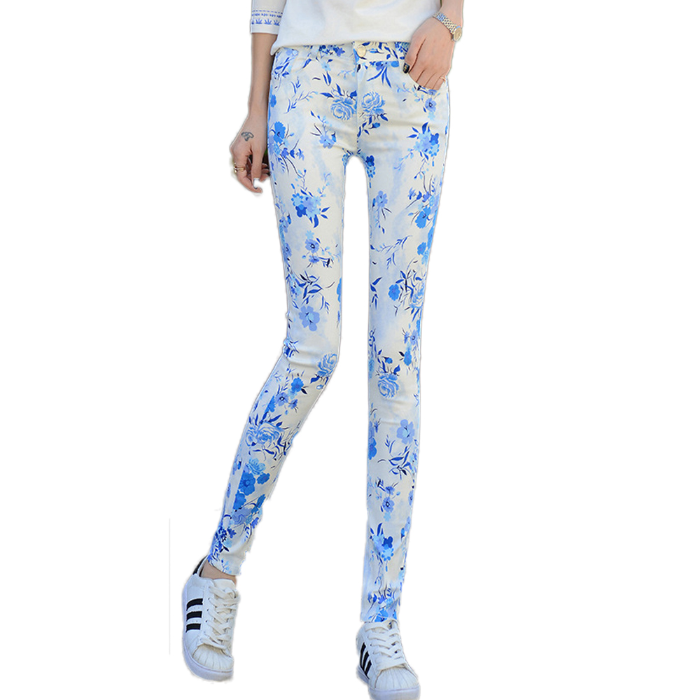 2017 New Fashion Womens Mid Waist Floral Print Pencil Jeans Female Slim Elastic  Pants Skinny Jeans Students Trousers PantsОдежда и ак�е��уары<br><br><br>Aliexpress