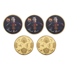 WR 1 oz 999.9 24k Gold Plated Coin Lionel Messi Customized Challenge Coin Famous Football Player Metal Coin for Collection(China)