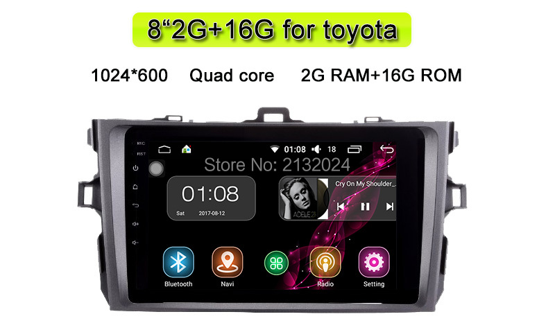 Android 6.0 IPS Screen 92Din Quad Core 1024600 Car PC Tablet For Corolla 2007- 2011 GPS BT Radio Stereo Audio Player No DVD