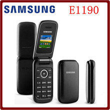 Original Unlocked Samsung E1190 GSM 1.43 inches 800 mAh Mini-SIM Black Only Refurbished Old Flip Mobile Phone(China)