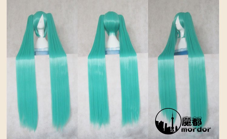 Vocaloid,MiKu,35cm main body with clip on 2*120cm green long ponytails cosplay costume wig,have stock,free shipping<br><br>Aliexpress