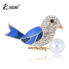 1PC Blue Bird Enamel Brooch Pins Gold Color Crystal Rhinestone Animal Brooches Simulated Pearl Women Lapel Pins (AS860038)