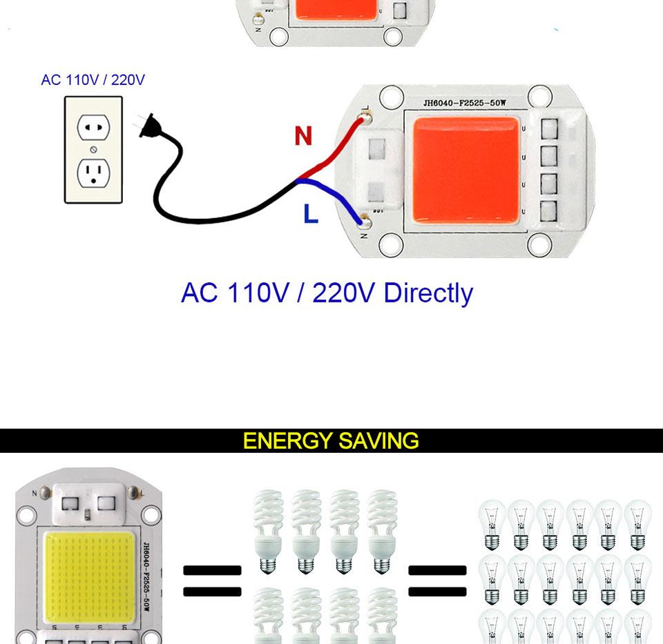 AC 110V 220V LED COB Lamp Chip 20W 30W 50W 100W 150W Full Spectrum LED Plant Grow Light Driverless Smart IC DIY LED Floodlights (12)