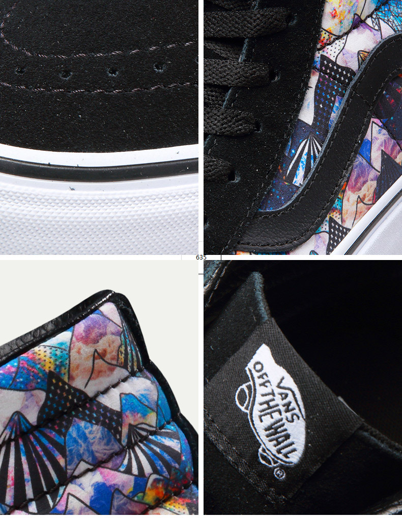 Original Vans Black and Colourful Unisex Skateboarding Shoes Sports Shoes Sneakers