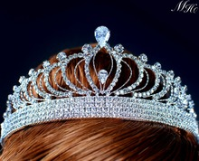 Queen Princess Tiaras Headband Clear Crystal Austrian Rhinestone Diadem Bride Crowns Wedding Pageant Prom Party Costumes