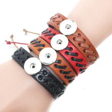 10 PCS/Lot 18mm Snap Button Jewelry adjustable Leather Baseball Team Bracelet DIY Jewelry For Women Braided Lace Bracelet 8347