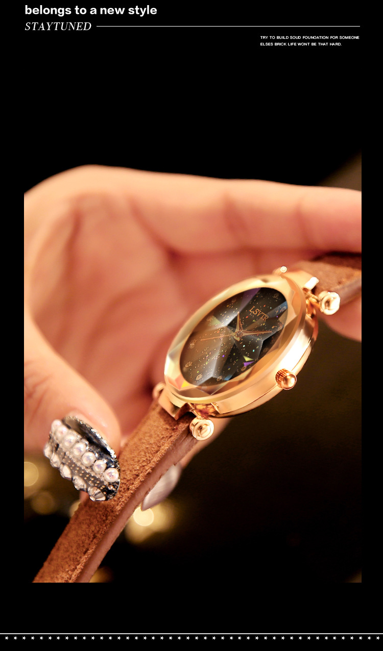18 Luxury Brand Gogoey Women Watches Personality romantic starry sky Wrist Watch Leather Rhinestone Designer Ladies Red Clock 35