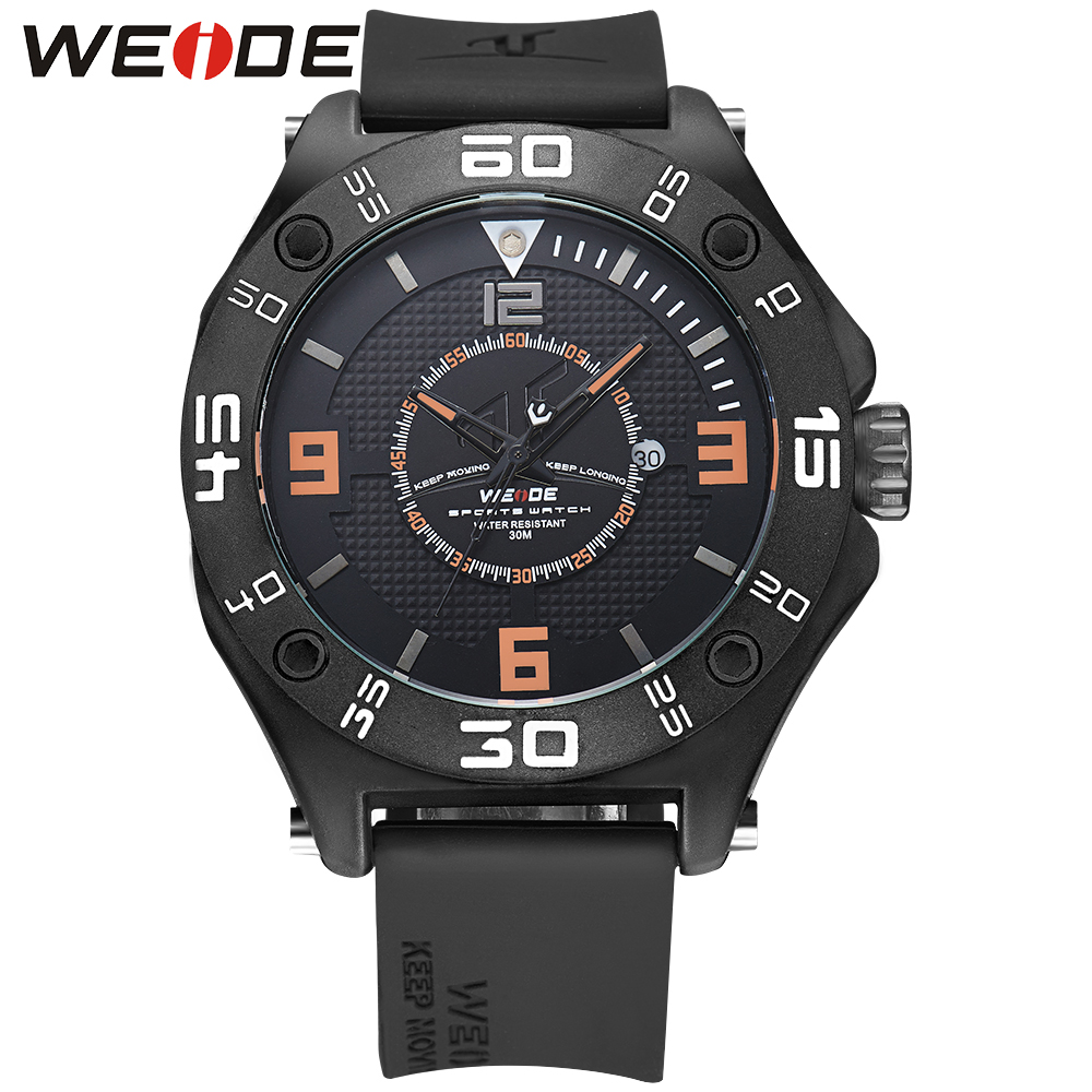 WEIDE Luxury Men Sports Watch Stainless Steel Buckle 22mm Silicone Watch Band Strap Waterproof Men Military Quartz Watches<br>