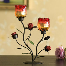 Home Decoration Iron Ornaments Rose Candle Holder Table Decoration Candle Holder Europe Metal Candle Stand Wedding Candlesticks(China)