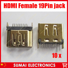 free shipping 10pcs/lot HDMI female plug socket jacks,caught in the middle of the board,HD TV Interface and laptop ect.