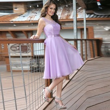 2016 Lavender Chiffon Vintage Short Cocktail Dress A-Line Lace Knee length Sleeveless Simple Short Prom Gown