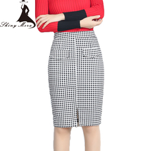 SHINYMORA Autumn Winter Pencil Skirts for Women High Waist Plaid Design Fashion Elegant Knee Length Skirt OL Female Retro Skirts(China)