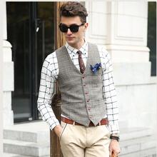 SHOWERSMILE Brand Suit Vest Men Jacket Sleeveless Beige Gray Brown Vintage Tweed Vest Fashion Spring Autumn Plus Size Waistcoat(China)
