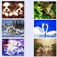 Diy Digital Oil Painting by Numbers Animals for Home Decor Picture Painting On Canvas 40x50 dog wolf Leopard Swan BM36