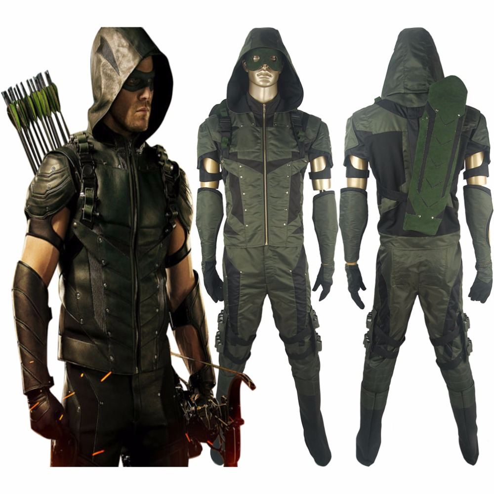Arrow Season 4 Oliver Queen Hoodie Outfit Full Set  Halloween Comic-con Anime Cosplay Costume Men Adults