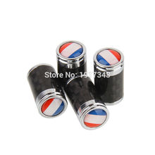 4PCS Car Styling Carbon Fiber Tire Valve Center Caps Auto Parts Wheel Tyre Valve Caps Emblem France Flag French National Flag