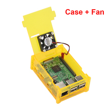 Raspberry Pi 3 Model B Acrylic Case Cover Shell Orange Box + CPU Fan compatiblle with Raspberry Pi 2