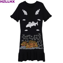 HZLLHX O- neck high end embroidery fish ocean animals women dress chic knit  short sleeve women dress black red 2 colors dress