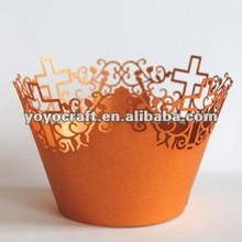 "New design! Hot sale!wedding fancy""cross""cupcake wrappers from china in all color for wholesale and retail"