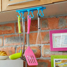 Multi Purpose Home Kitchen Organizer Hanging Storage Rack With 6 Hooks