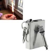 Silver Color Durable Emergency Fire Starter Flint Match Lighter Metal Outdoor Camping Hiking Instant Survival Tool