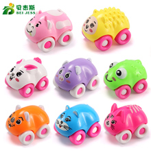 BEI JESS 8Pcs/set Cars styling DIY animal car toy plastic Diecasts model push baby Toy Boys random Color Sent(China)