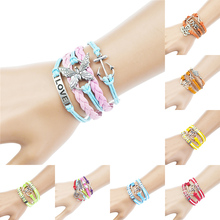 Fashion Rope Bangle Bracelet Love Butterfly Silver color Anchor Charm Bracelets& Bangles for Man Woman