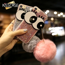 KISSCASE For iPhone 7 Case Fur Ball Cut Rabbit Bling Cover For Apple iPhone 7 Coque Charming Eyes Fashion Accessories Fundas