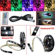 SMD RGB LED Strip Light 5050 1M/2M 30Leds/m led Tape USB Power TV Backlighting Kit Set W/44key Controller 5V