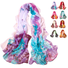 Unique factory sellng Women Chiffon Scarf Peony Printing long Shawls Scarves Scarf 8 colors summer female beach scraps