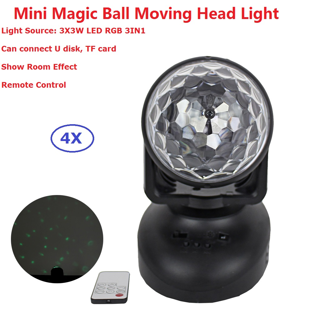 4XLot Remote Control RGB LED Stage Lamps Crystal Magic Ball Sound Control 3X3W 3IN1 Moving Head Lights Party Disco Club DJ Light<br>