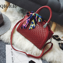 QIGER Woven Designer Handbag With Scarves Women Leather Handbags Big Size Shoulder Bags High Quality Hand Bag Bolsas Feminina