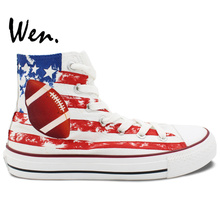 Wen Design Custom Hand Painted Shoes American Football American Flag Rugby Men Women's High Top Canvas Sneakers(China)
