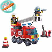 Wholesale Price!!! 130Pcs Ladder Fire Truck Building Blocks Small Particles DIY Early Educational Fire Fighting Toys+With Gift