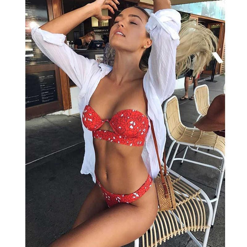18264971b4223 sexy girl bikini 2019 sexy swimsuit ladies printed swimwear tankini swimsuit  women beach wear bandeau strap