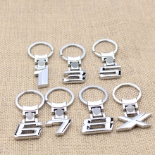 Automobiles Motorcycles Accessories Numbers 1/3/5/6/7/8/X Car Logo Key Ring Chain Keyrings Keychains Free Shipping(China)