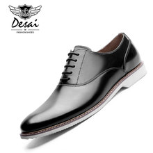 DESAI Brand Italian Design Mens Dress Shoes Pointed Toe Genuine Leather Oxford Shoes Men Leather Formal Shoes