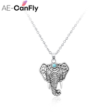 AE-CANFLY Boho Antique Necklaces Pendants Ethnic Elephant Choker Necklace Chain 2L3015(China)