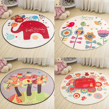 Lovely Cute Colorful Cartoon Round Decorative Carpet Foot Door Chair Baby Play Crawl Mat Pad Bathroom Hallway Parlor Area Rug